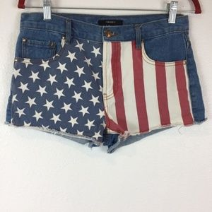 Forever 21 American Flag Jean Shorts Size 28